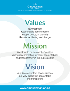 Image listing our values, mission and vision.