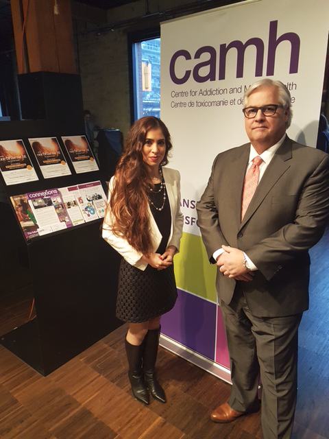 Ombudsman Paul Dubé with Dr. Katy Kamkar, Clinical Psychologist at the Centre for Addiction and Mental Health (CAMH) and Medical Advisor to Board of Directors at Badge of Life Canada (BOLC).