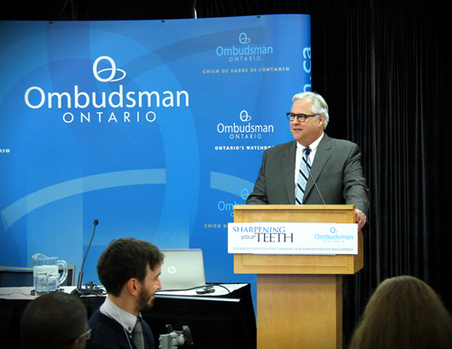 Ombudsman Paul Dubé speaking during the Sharpening your Teeth training session.