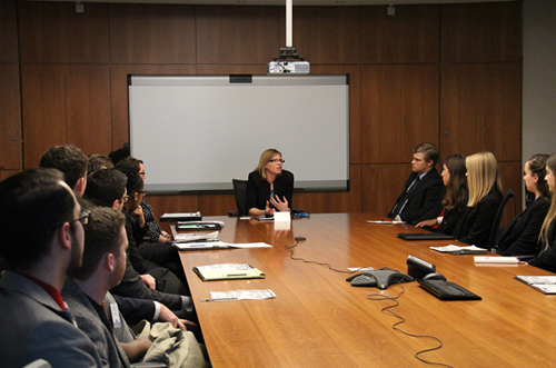 Barbara Finlay (Deputy Ombudsman), speaking during a visit of the Ohio Legislative Fellows