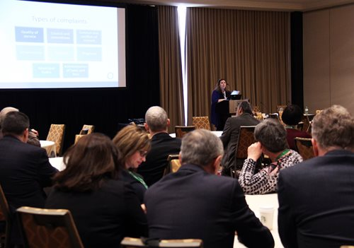 General Counsel Laura Pettigrew presenting during ROMA conference.