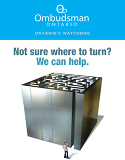 "Resource brochure showing a man standing in front of a labyrinth with text ""Not sure where to turn? We can help."""