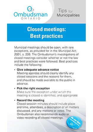 Link to Closed Meetings - Best Practices
