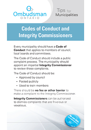 Link to Codes of Conduct and Integrity Commissioners