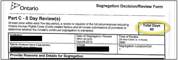 Figure 5: Adam Capay's segregation review form from October 9, 2016, showing 50 total days in segregation.