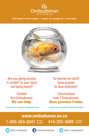 Link to PDF of Children & Youth poster titled Going in circles? We can help. Image of goldfish swimming in circles