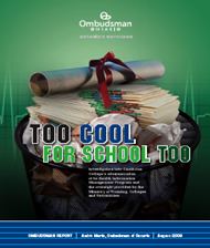 "cover of ""Too Cool For School Too"" report"