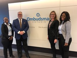 February 2020: International visitors to our Office during this month included Rob Behrens, United Kingdom Parliamentary and Health Services Ombudsman, investigators for the Ombudsman of Botswana (pictured here - with Ombudsman Paul Dubé and Deputy Ombudsman Barbara Finlay), and Andreas Pottakis, Ombudsman of Greece.