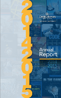 "Cover of 2015-2016 annual report featuring buttons stating ""We Can Help"" and ""Independent, Impartial, Confidential, Free"""