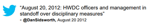 "Tweet: ""August 20, 2012: HWDC officers and management in standoff over disciplinary measures"" @DanSidworth, August 20, 2012"