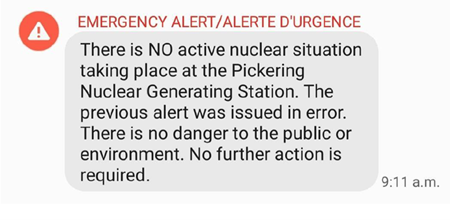 image of the second Emergency Alert sent on Sunday, January 12, 2020 at 9:11 a.m.