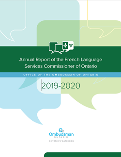 Cover of the French Language Services Commissioner of Ontario 's 2019-2020 Annual report