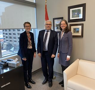March 11, 2020: French Language Services Commissioner Kelly Burke meets with her counterparts, federal Commissioner of Official Languages Raymond Théberge, and New Brunswick Commissioner of Official Languages Shirley MacLean, Ottawa.