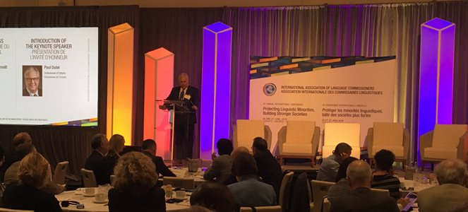 June 26, 2019: Ombudsman Paul Dubé opens the International Association of Language Commissioners' sixth annual conference, Toronto.